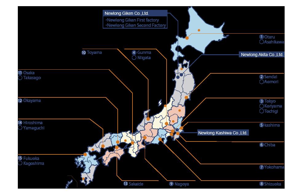 Japan map of newlong